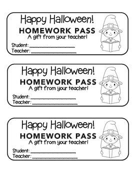 """Halloween"" Witch Reading - Homework Pass – FUN! (color & black line)"