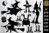Halloween Witch SVG Sihouette Clip Art