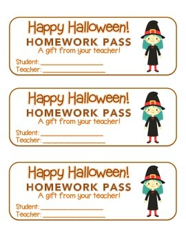 """Halloween"" Witch Standing - Homework Pass –Holiday FUN! (color & black line)"