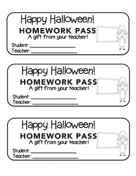 """Halloween"" Witch Teacher - Homework Pass – FUN! (color & black line)"