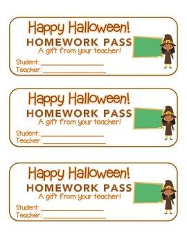 """Halloween"" Witch Teacher - Homework Pass – Holiday FUN! (full color version)"