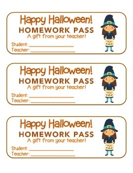 """""""Halloween"""" Witch Trick or Treat - Homework Pass – FUN! (color & black line)"""
