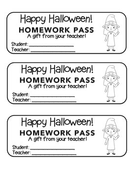 """Halloween"" Witch Waving - Homework Pass –Holiday FUN! (black line version)"