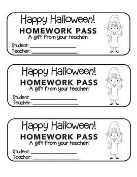 """Halloween"" Witch Waving - Homework Pass –Holiday FUN! (bl"