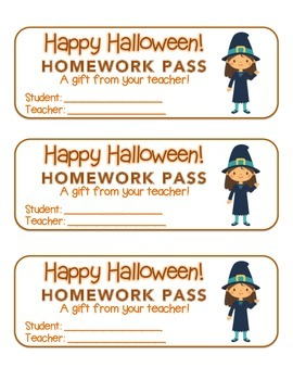 """Halloween"" Witch Waving - Homework Pass –Holiday FUN! (color & black line)"