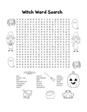 """Halloween Witch"" – Word Search – Halloween Fun! (Black Line Version)"