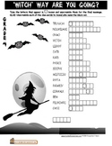 Halloween Witch Worksheet Double puzzle Gr4