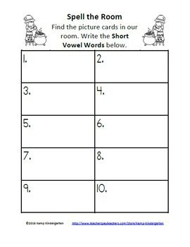 Halloween Witch's Short Vowel Words Spell the Room