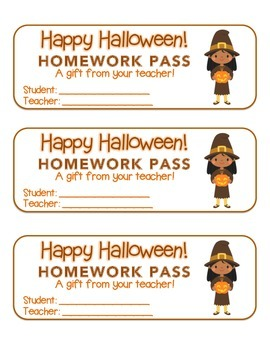 """Halloween""  Witch with Jack-O'-Lantern- Homework Pass! (color & black line)"