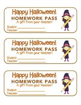 """Halloween"" Witch with Pencil - Homework Pass – Holiday FUN! (full color)"