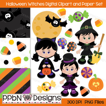 Halloween Witches Digital Clipart and Paper Set