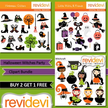 Halloween Witches Party clip art combo (3 packs) commercial use