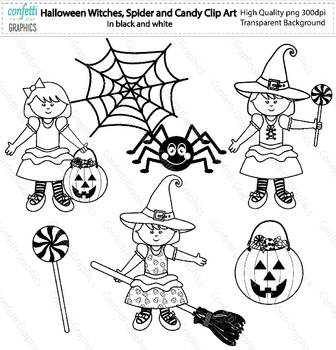 October Halloween Witches Spider Candy Clip Art Digital Papers Color B&W