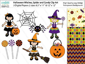 October Halloween Witches Spider Candy Clip Art Digital Pa