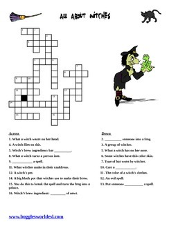 Halloween Witches crossword w/vocab. pictures & Spanish translation