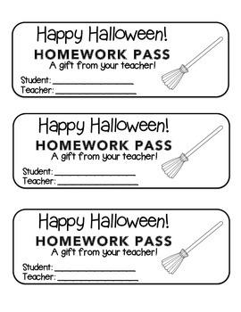 """Halloween"" Witch's Broom - Homework Pass –Holiday FUN! (black line version)"