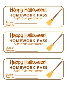 """Halloween"" Witch's Broom - Homework Pass –Holiday FUN! (color & black line)"