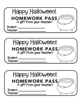 """Halloween"" Witch's Cauldron - Homework Pass –Holiday FUN! (black line)"