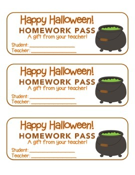 """""""Halloween"""" Witch's Cauldron - Homework Pass – Holiday FUN! (full color version)"""