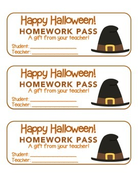 """Halloween"" Witch's Hat - Homework Pass – FUN! (color & black line version)"