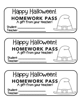 """Halloween"" Witch's Hat - Homework Pass –Holiday FUN! (black line version)"
