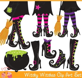 Halloween Witchy Hour Witches Shoes 2 Clipart Set