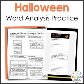 Halloween Word Analysis Worksheets (SOL 4.4)