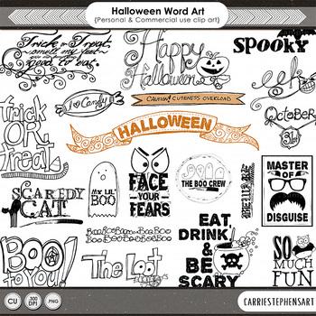 Halloween Word Art, Halloween Party ClipArt, Halloween WordArt Quotes