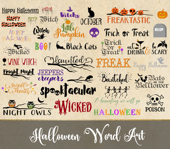 Halloween Word Art and Typography Vector and PNG Clipart Graphics
