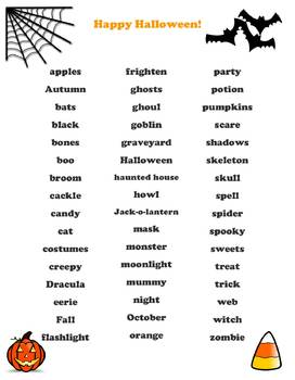 Halloween Word Bank - For all Grades