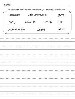 Halloween Word Bank Writing