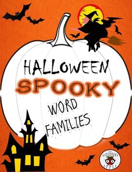 Halloween Word Families ELA Coloring Worksheet Freebie