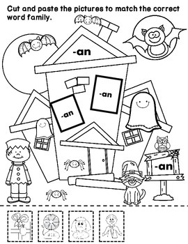 Halloween Word Families Print and Go Activities:  Cut and Paste Worksheets