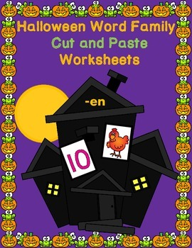 Halloween Word Families Print and Go Activities:  Cut and