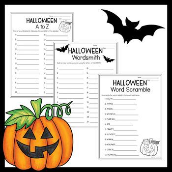 Halloween Activities - 3 Different Word Games