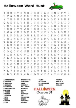 Halloween Word Hunt Word Search