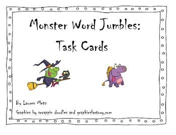 Halloween Word Jumbles: Task Cards