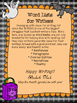 Halloween Word List for Writers