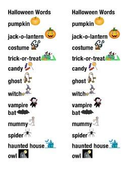 Halloween Word Picture Sentence Helpers