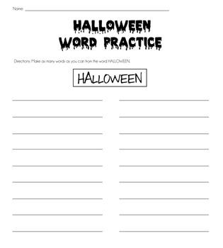 Halloween Word Practice {Make words from Halloween}