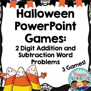 Halloween Word Problem PowerPoint Games: 2 Digit Addition