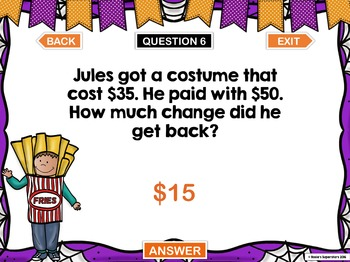 Halloween Word Problem PowerPoint Games: 2 Digit Addition and Subtraction