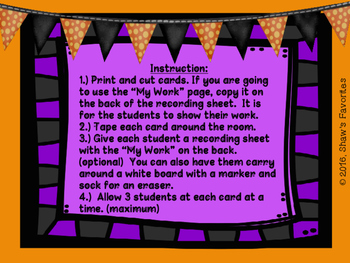 Halloween Word Problem Scavenger Hunt