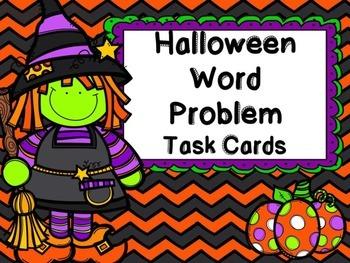 Halloween Word Problem Task Cards