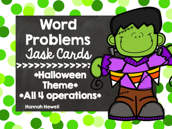 Halloween Word Problem Task Cards