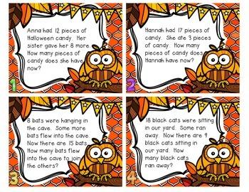 Halloween Word Problem Task Cards & Game Board (K-2)