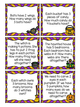 Halloween Word Problem Task Cards - Multiplication and Division