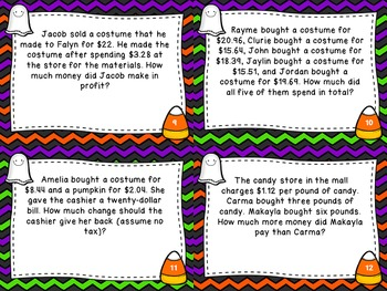 Halloween Math Word Problem Task Cards - Multi-step