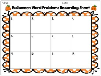 Halloween Word Problem Task Cards: Sums to 20