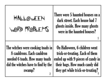 Halloween Word Problems - Common Core